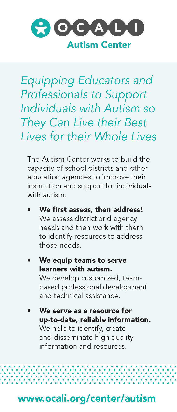 Autism Center Rack Card